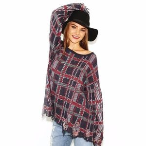 Wildfox All Over Destructed Plaid Sweater