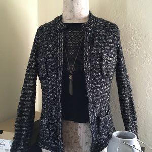 LOFT black and white sweater jacket