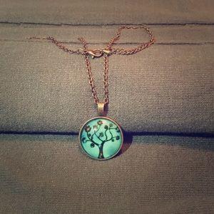 Jewelry - Antique bronze necklace with tree pendant.
