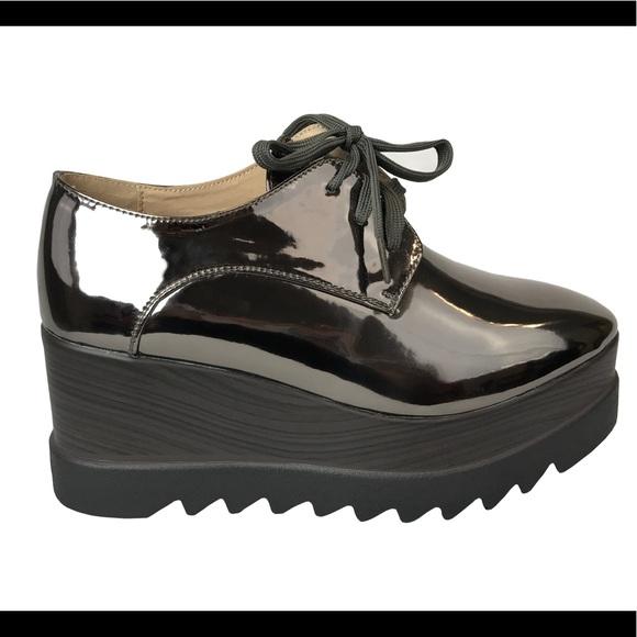 93997df6402 Stella Platform Wedge Sneakers Elyse in Pewter