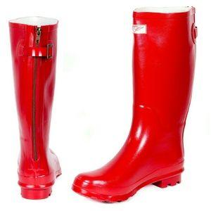 Women Tall Matte Zipper Rain boots, #1412, Red