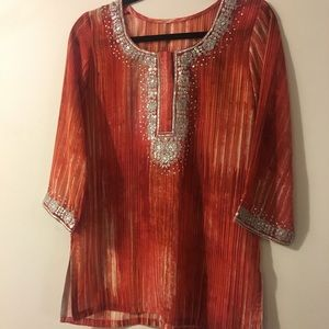 Sequin ✨Embroidered Flame 🔥 Tunic