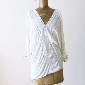 TINY Anthropologie Cream Lace Boho Top Ruched S