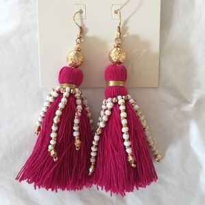 H&M hot pink tassel earrings NWT