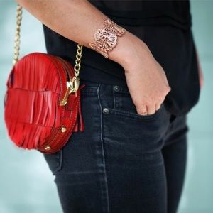 Anthropologie Red Fringe Bag