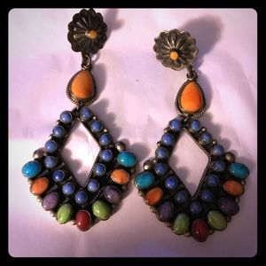 Jewelry - Sterling Don Lucas turquoise lapis coral earrings