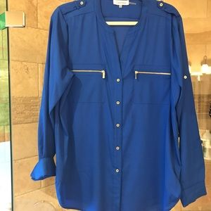 Calvin Klein blue 3/4 Blouse