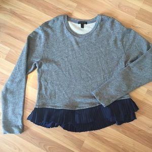 J. Crew Pleated Trimmed Sweatshirt