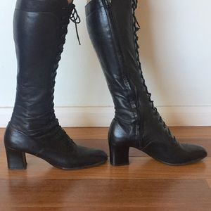 Vintage Black Leather Lace Up Boots Knee High 8.5