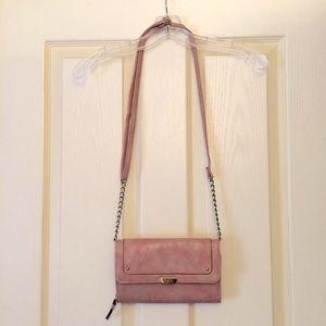 Metallic mauve Nicole Miller cross-body purse