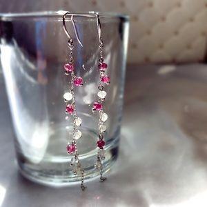 Jewelry - 💎Solid✨ 14KWG Rhodolite Garnet&Quartz  Earrings