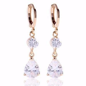 Jewelry - Gold Triangle CZ Gem Dangle Earrings