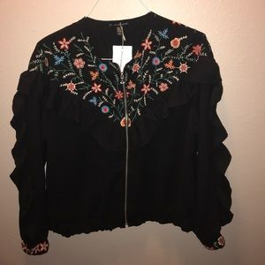 Zara trf outerwear embroidered ruffled jacket L