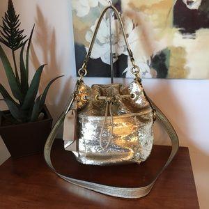 COACH POPPY GOLD SEQUINS CINCH CROSSBODY BAG 17906