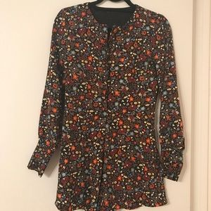 Zara Multi-Color Floral Long Sleeve Romper