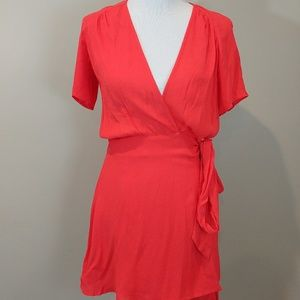 Forever 21 Coral Wrap Dress Size Medium