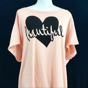 "Torrid ""Beautiful"" Pink and Black Heart Tee"
