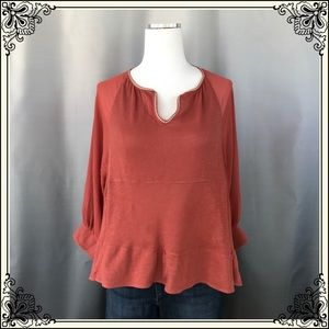 Anthropologie Akemi + Kim Rust LS Top #1018