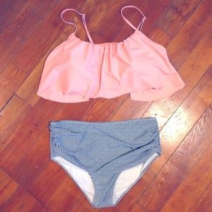 Other - Peach and b/w stripe high waist bikini set