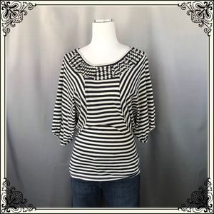 Anthro Ett taia Brand Blue/white Stripe Top #1020
