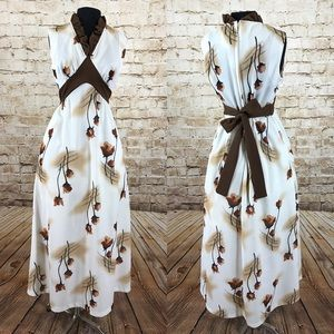 70s plus size brown roses maxi dress