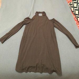 Medium, olive, long sleeved mini dress.