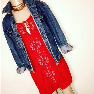 Cute, Bohemian style Red Mini Dress