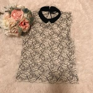 Zara Lace Top With Collar