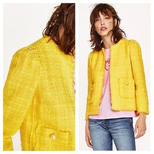 Zara textured twill Blazer yellow jacket pearls
