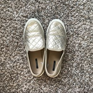 gold quilted slip on sneakers