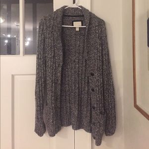 Cardigan sweater with suede elbow pads