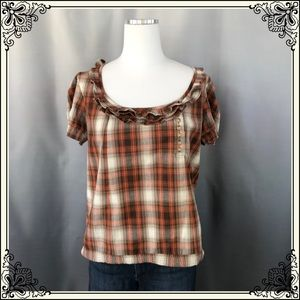 Kimchi Blue Brown/Tan Plaid Top #1016