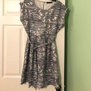 Limited navy bird print smocked dress. Size M.
