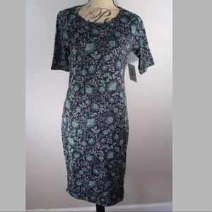 New Lularoe Julia Dress M Floral Black Green Cute