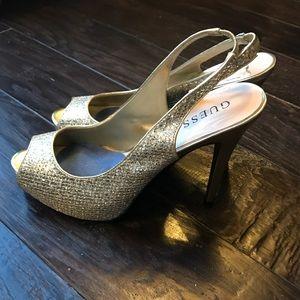 GUESS stiletto open toe heels