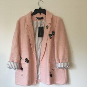 Zara pink Tweed Jacket Frayed embellished