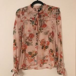 Zara Floral Long Sleeve Blouse