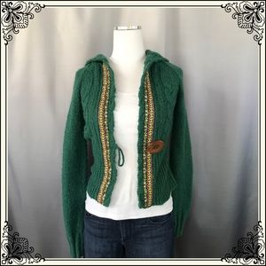 Free People Green Hooded Sweater #1015
