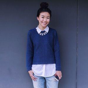 •J. Crew• Quilted Indigo Blue Cotton Sweatshirt