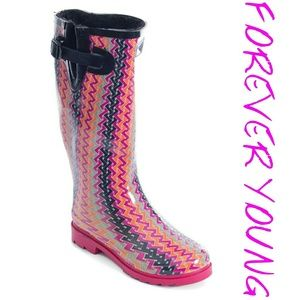 Women Faux Fur Lined Rainboots, #1525, Zigzag