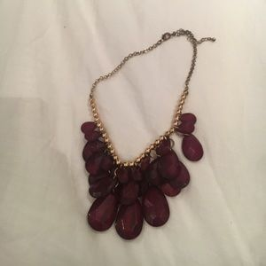 Burgundy red and gold necklace