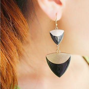 Jewelry - GOLD + BLACK TRIANGLE DROP EARRINGS
