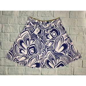 Cabi Blue Swirl Pleated Flared Lombard Skirt