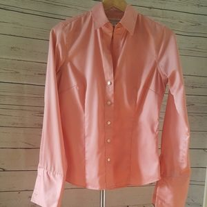 Banana Republic tailored pink button w/french cuff