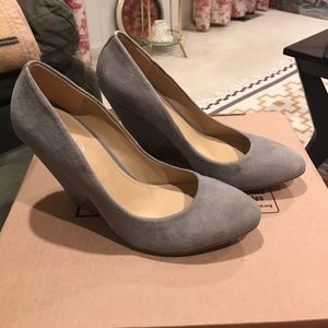 Gray suede wedges