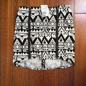 H&M - black and white tribal spandex skirt