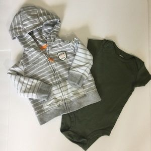 Carters striped hoodie sweatshirt and onesie 9m