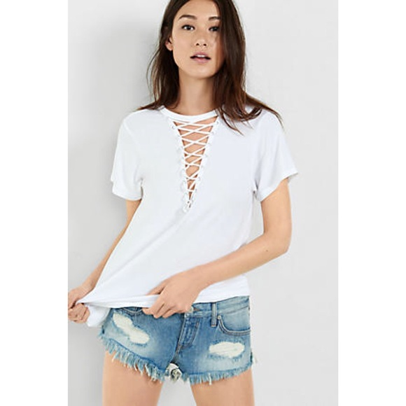2ff0da46f3 Express One Eleven Deep V-Neck Lace Up Tee White