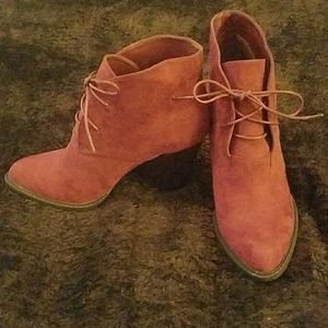 Red heeled lace up ankle booties