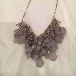 Smoker gray stone and gemstone necklace